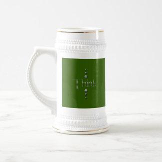3 Dot Silver Block Think & Green Background Coffee Mug