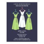 3 Dresses Bridal Shower Invitations - Navy