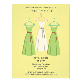 "3 Dresses Bridal Shower Invitations - Sand 4.25"" X 5.5"" Invitation Card"