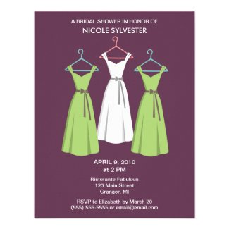 3 Dresses Bridal Shower Invitations -Wine