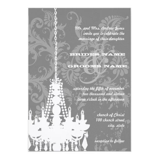 3 el boda de plata y gris del damasco de las comunicado