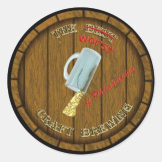 3 el pegatina de elaboración de la cerveza peor