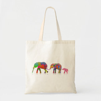 3 elefantes coloridos que caminan - arte pop bolsas de mano