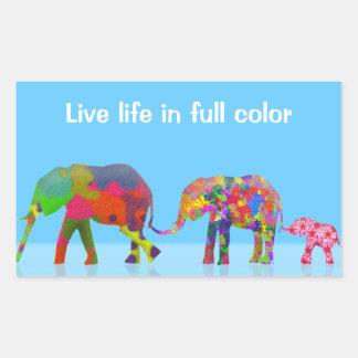 3 elefantes coloridos que caminan - arte pop pegatina rectangular