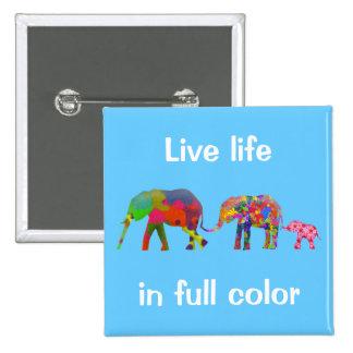 3 elefantes coloridos que caminan - arte pop pin cuadrado