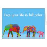 3 elefantes coloridos que caminan - arte pop felicitación