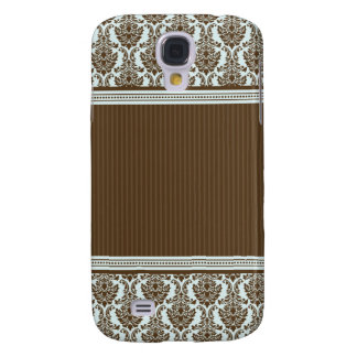 3 Elegant Damask Blue/Chocolate Samsung Galaxy S4 Cover