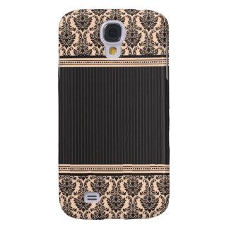 3 Elegant Damask Peach/Black Samsung Galaxy S4 Case