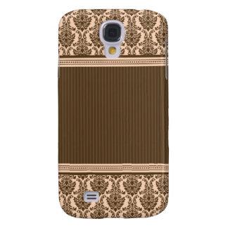 3 Elegant Damask Peach/Chocolate Samsung Galaxy S4 Case