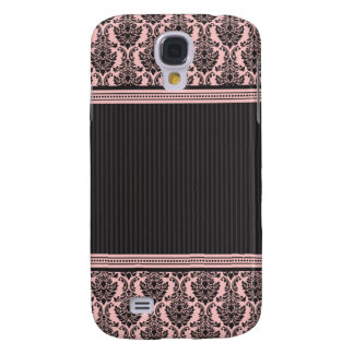 3 Elegant Damask Pink/Black Samsung Galaxy S4 Cover