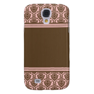 3 Elegant Damask Pink/Chocolate Samsung S4 Case