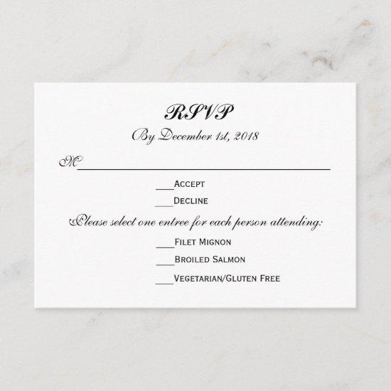 3 Entree Choices RSVP Wedding Response Reply