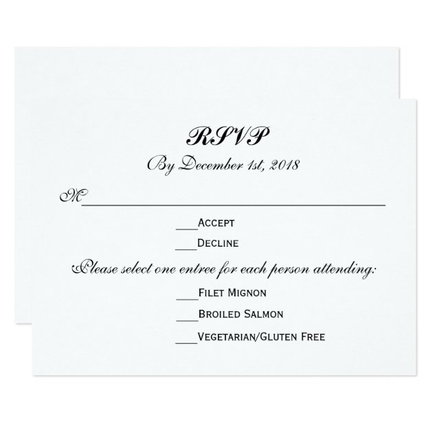 Wedding Invitations Menu Response Cards - New Wedding