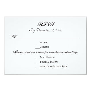 3 Entree Choices Rsvp Wedding Response Reply Card at Zazzle