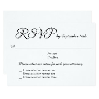 3 Entree Menu Choices Wedding RSVP Response Reply Card