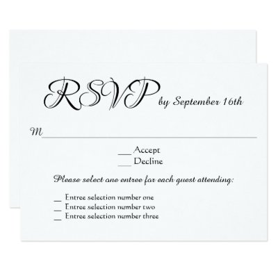 3 Entree Choices RSVP Wedding Response Reply Card