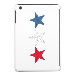 3 estrellas de Origami - rojas, blancas, y azul Funda De iPad Mini