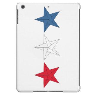 3 estrellas de Origami - rojas, blancas, y azul Funda Para iPad Air