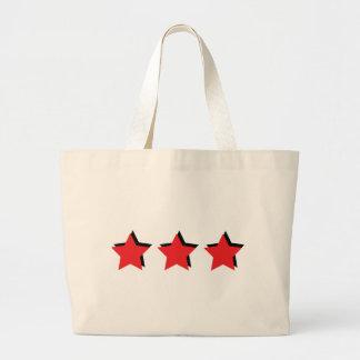 3 estrellas rojas de lujo bolsa tela grande