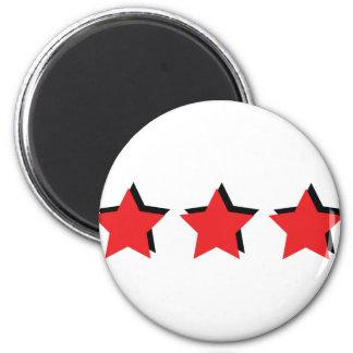 3 estrellas rojas de lujo imán redondo 5 cm