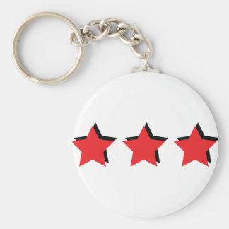 3 estrellas rojas de lujo llavero redondo tipo pin