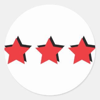 3 estrellas rojas de lujo pegatina redonda