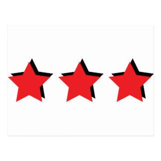 3 estrellas rojas de lujo tarjeta postal