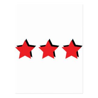 3 estrellas rojas de lujo tarjetas postales
