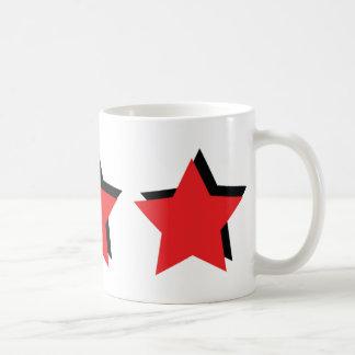 3 estrellas rojas de lujo taza básica blanca