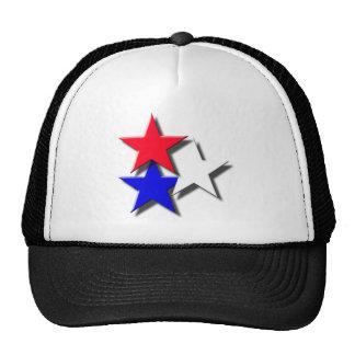 3 estrellas rojos blancos y azules gorra