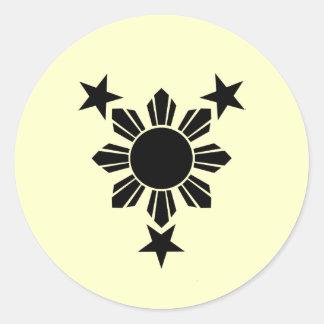 3 estrellas y sólidos de Sun (pegatina) Pegatina Redonda