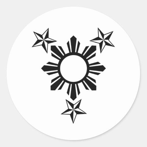 3 estrellas y Sun Etiquetas Redondas