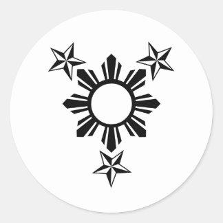 3 estrellas y Sun Pegatina Redonda