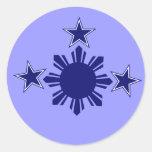 3 estrellas y un azul de Sun Pegatina Redonda