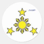 3 estrellas y un sol etiqueta redonda