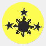 3 estrellas y un Sun Pegatinas Redondas