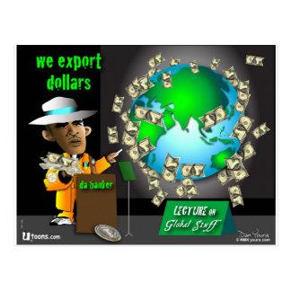 3 export dollars postcard