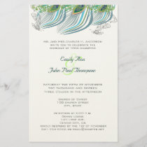 3 Feather Vintage Peacock Wedding Stationery