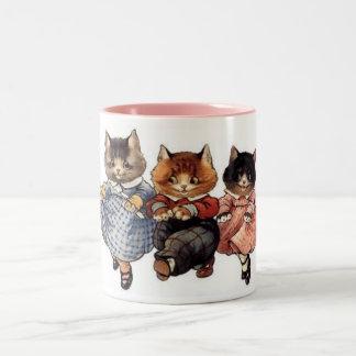 3 felices gatos taza dos tonos