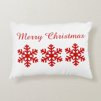 3 Festive Red Snowflakes Red White Merry Christmas Accent Pillow