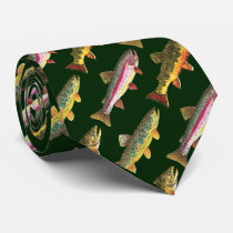 3 Fish for Trout Lovers - Brook, Rainbow, Brown Neck Tie