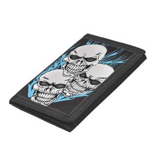 3 Flaming Tattoo Skull Customizable Wallet