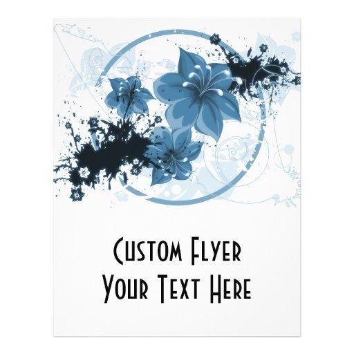 """3 flores bonitas - azul folleto 8.5"""" x 11"""""""