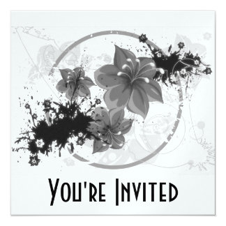 """3 flores bonitas - infrarrojo de B&W Invitación 5.25"""" X 5.25"""""""