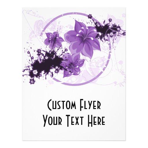 "3 flores bonitas - púrpura folleto 8.5"" x 11"""