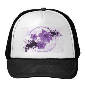 3 flores bonitas - púrpura gorras