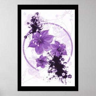 3 flores bonitas - púrpura póster