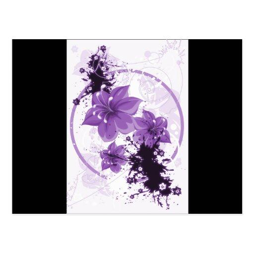 3 flores bonitas - púrpura tarjetas postales