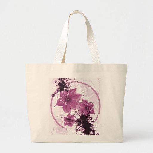 3 flores bonitas - rosa bolsa lienzo