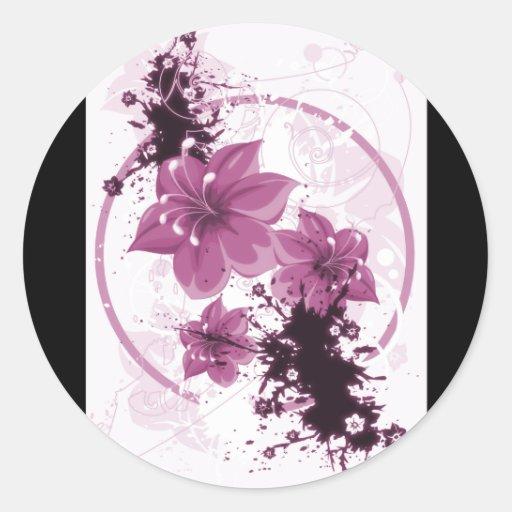 3 flores bonitas - rosa pegatinas redondas
